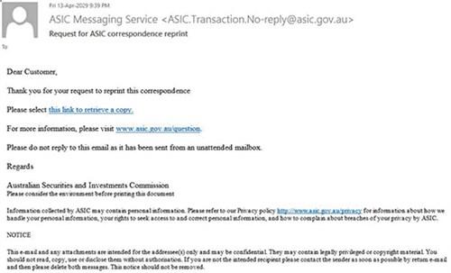 Scam email alert