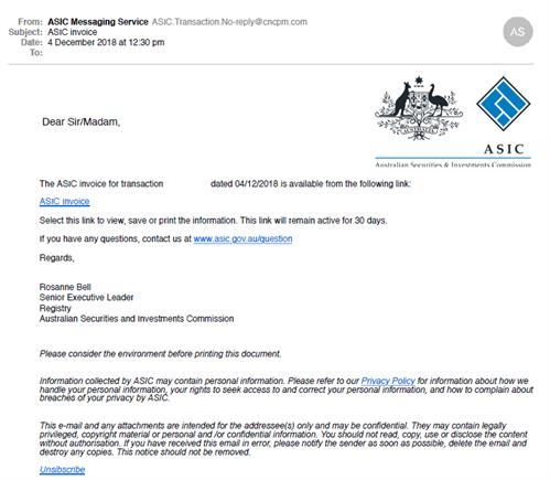 Scam Email 4 December 2018