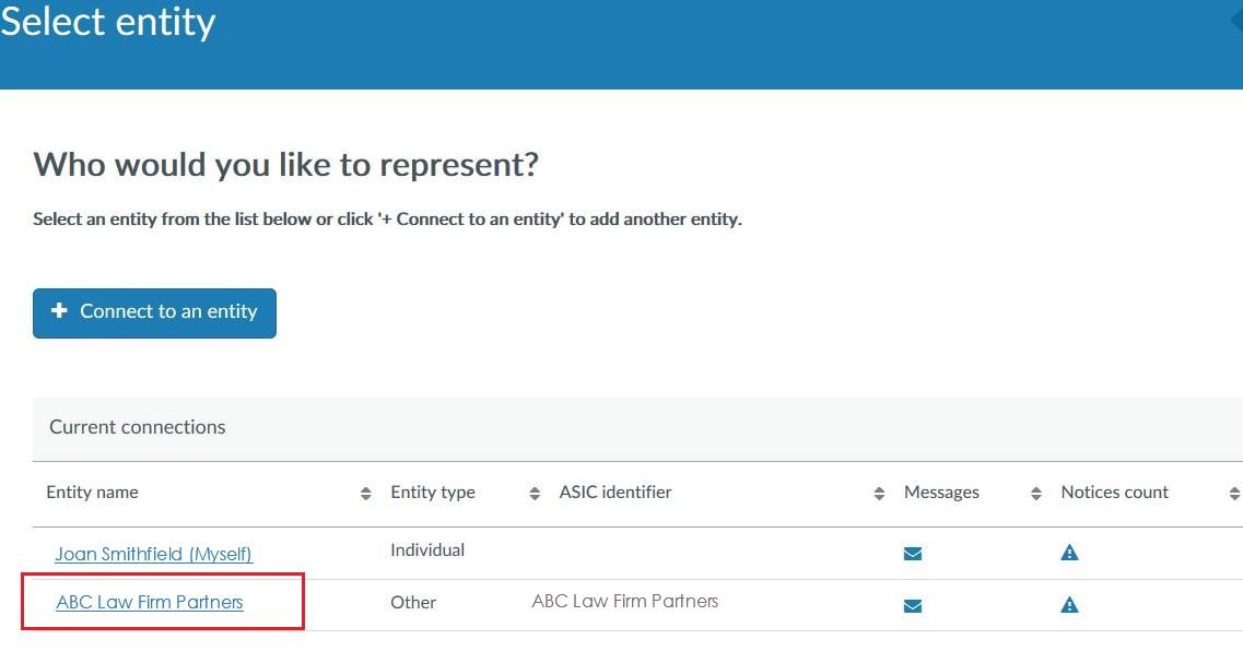 Regulatory Portal: Select Entity To Represent