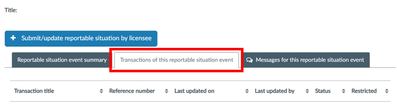 Complete the unsubmitted transaction first, which you can find on the 'Transactions of this reportable situation' tab.