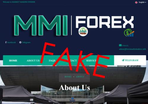 Screenshot of MMI scam website